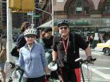 Time's-Up! riders Trudy Hutter and John Chiarella wait for the ride to begin