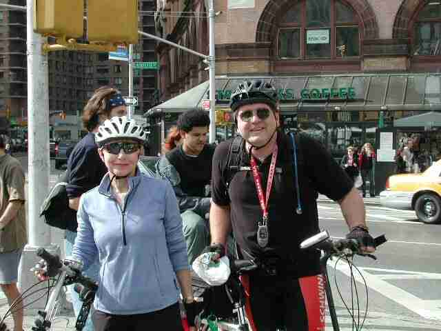 Times-Up! riders Trudy Hutter and John Chiarella wait for the ride to begin