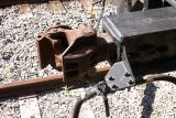 The car coupling on the front end of a caboose.