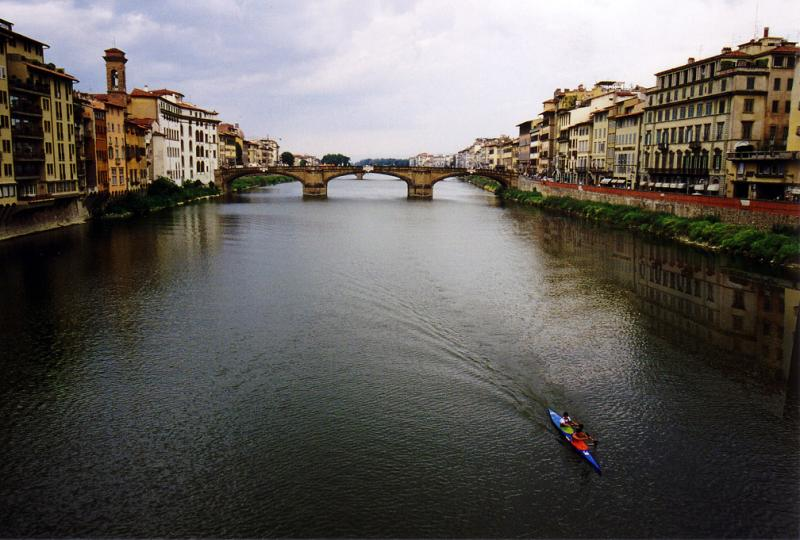Rowing the Arno, Florence, Italy, 1999