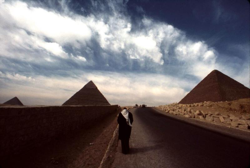 Approaching the Great Pyramids, Cairo, Egypt, 1984