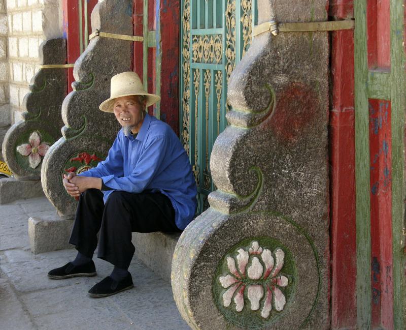 Man at leisure, Lhasa, Tibet, 2004