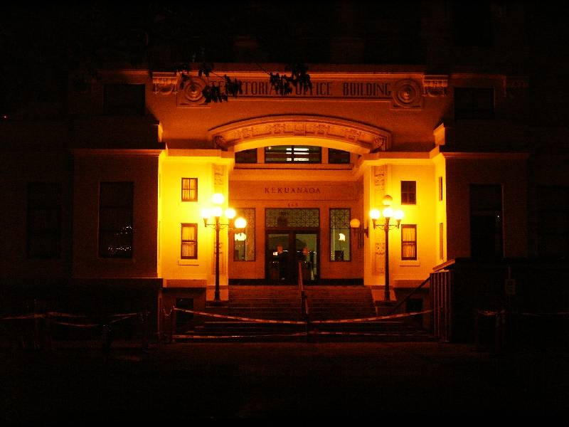 Territorial Office Building at night
