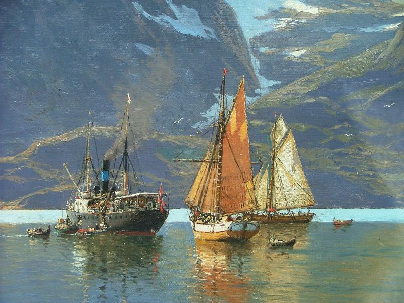 Raftsundet -Norway-The Old Hurtigruten  - Photo - Segment of - In Nerøyfjord - Painting-T.v .Eckenbrecher