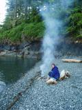 port hardy kayak- intertidal beach fire