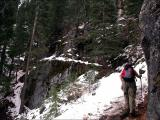 The icy, snowy trail