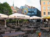 Beer gardens populate all squares