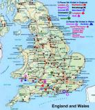 Places we visited in England and Wales as marked on the map and legend