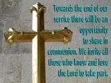 'Invitation to share communion' slide from the Cathedral series