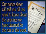 'Notice sheet' slide from the Blue series