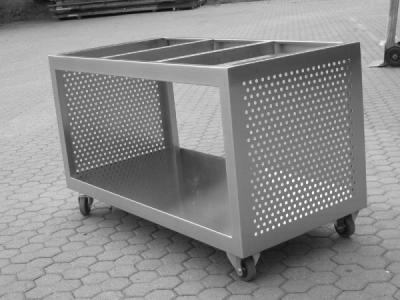carrello inox con  griglia punzonata -Lecco