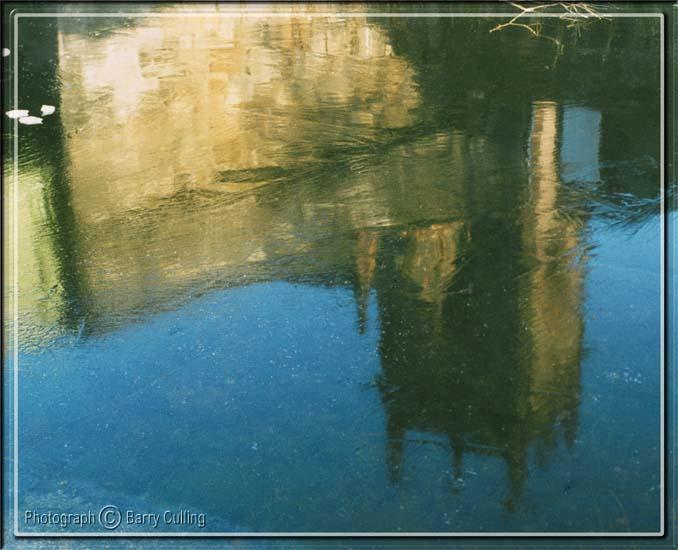 Church Reflected in Ice on Canal<br> Edinburgh Scotland.jpg