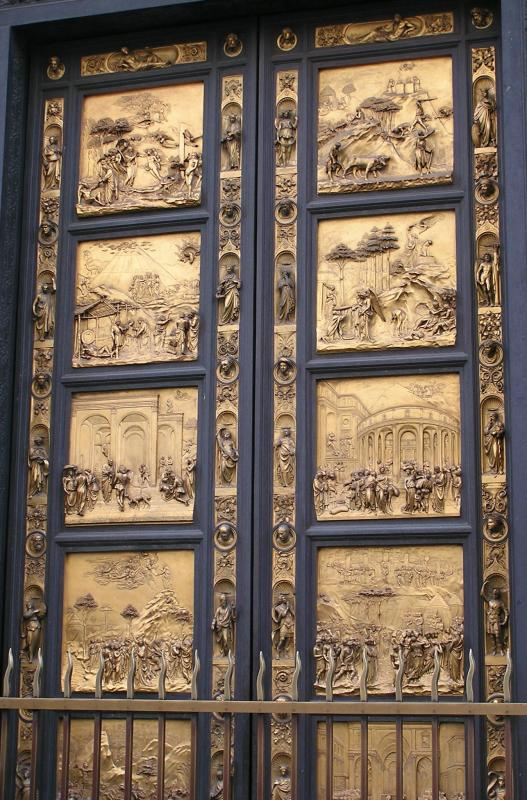 One of the famous doors of the Baptistery
