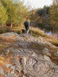 Glacial grooves at beaver pond on mountain