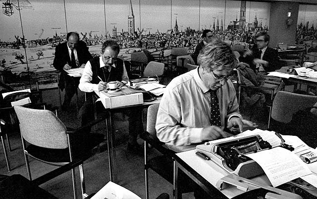 Journalists at work during the Popes visit