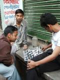 Playing chess on the street, Dhaka