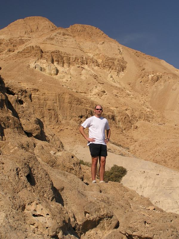 Dave in front of the hills over Wadi David