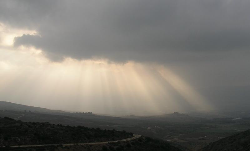 Afternoon sunlight over Golan Heights