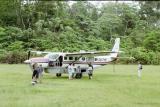 Plane just landed at the Boca Manu Airport