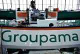 Le trimaran Groupama 2 en cours de finition à Lorient