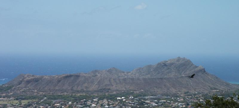Diamond Head from a Highway Overpass on H-1