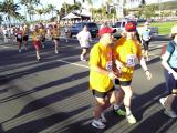 Blind runner and friend helping each other