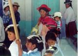 The children were holding up signs.  I loved the bonnet on the baby and the typical bowler