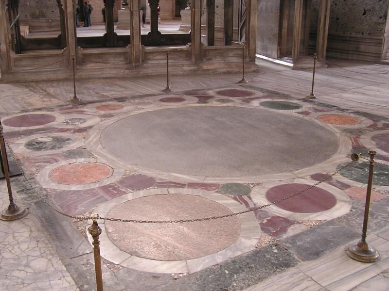 Cool marble floor marks a ceremonial spot
