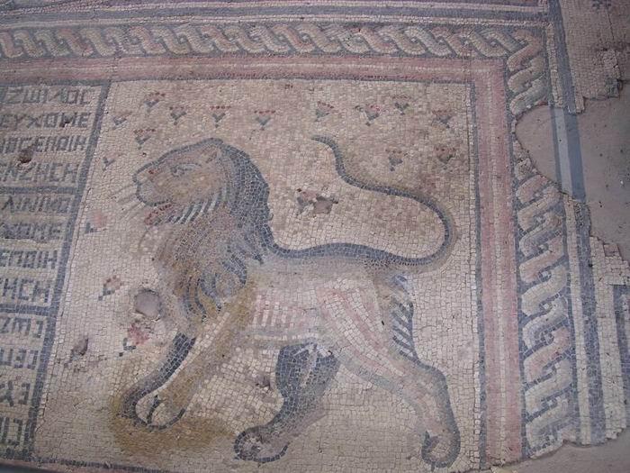 אחד מאריות הפסיפס בחמת טבריה