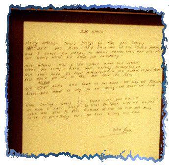 Handwritten lyrics to Hello Walls