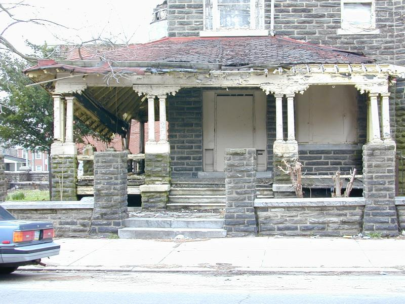 <b>April 2003.</b>  The porch is almost whole.