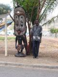 Carving and Carver outside hotel