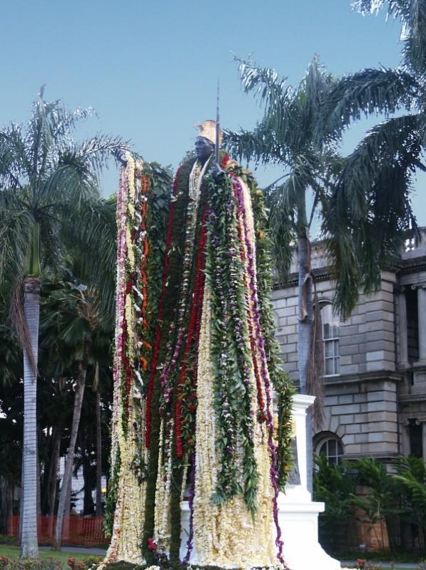 Kamehameha the Great statue decked in leis