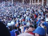 A sea of blue fans