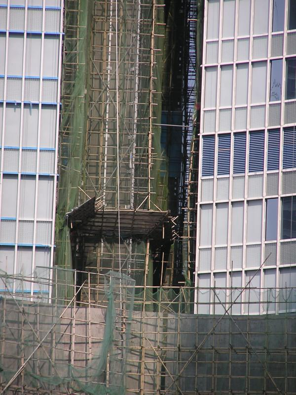 Bamboo scaffolding is used everywhere