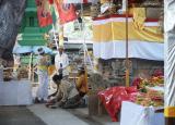 Inside the temple, preparing for festival