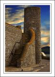 Stone steps and tower, Lyme Regis