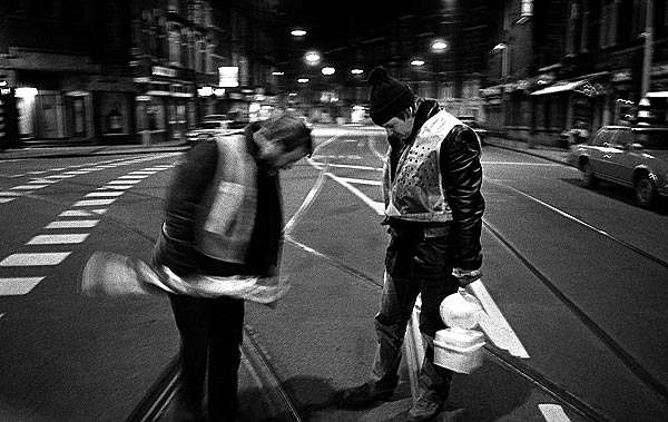 Nightly work on the tram rails - Amsterdam