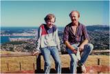 Mike and me, Mt Kaukau, Wellington in background - about 1991
