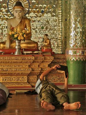 Reading with Buddha, Yangon, Myanmar, 2005