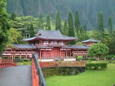 Bridge to Byodo-in Temple Windward Oahu Hawaii