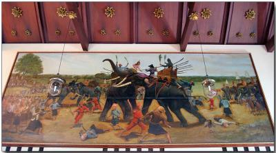 Princes and elephants in battle - Wat Chaimongkhon