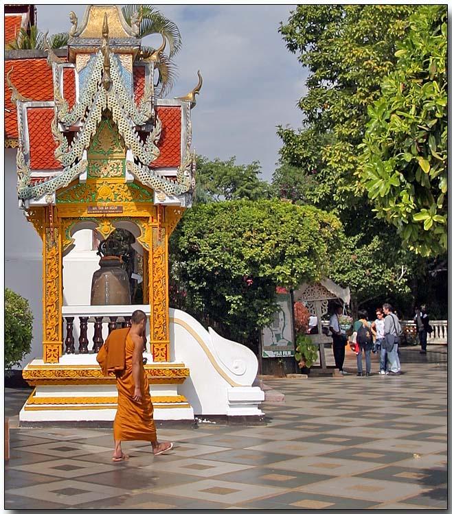 Monk in courtyard