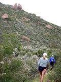 Laura & Pat climbing to Butt Crack Rock
