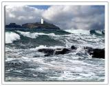 Lighthouse amongst the surf, Godrevy, Cornwall (1500)