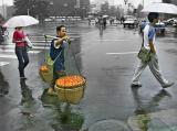 Rainy Morning with Orange Man, Chengdu