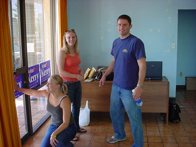 Campaign workers <br> setting up shop
