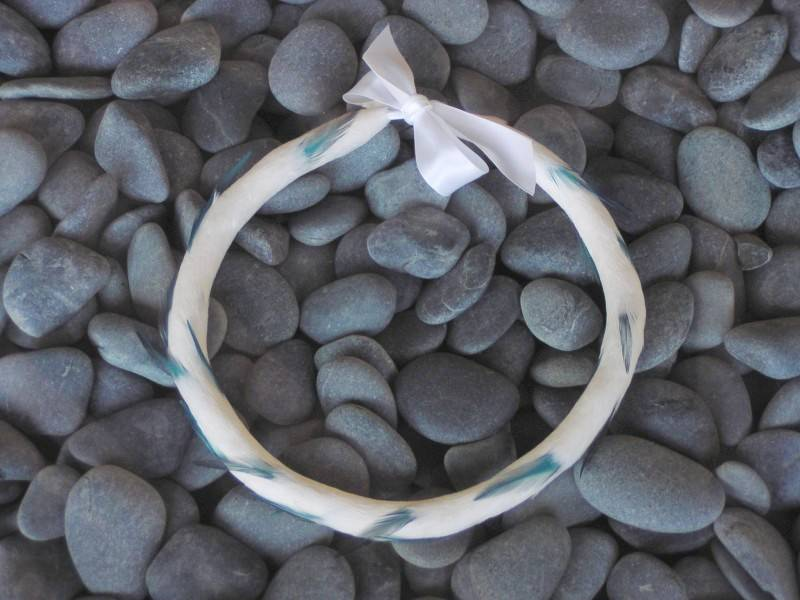 Blue and White Feather Lei