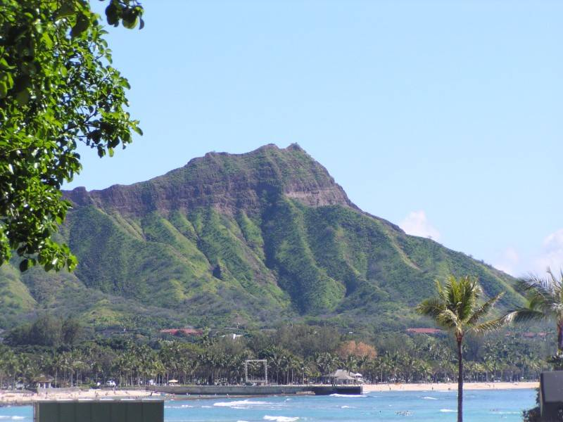 Diamond Head view from Beach Fronting the Waikiki Sheraton