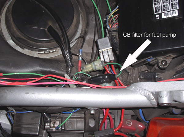 Location of the fuel pump noise filter